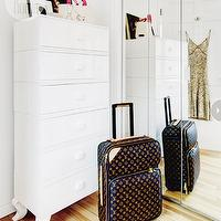 Style at Home - bedrooms - louis vuitton, louis vuitton rolling luggae, louis vuitton pagese, mirrored closet doors, sliding closet doors, sliding mirrored closet doors, tall boy chest, white tall chest, white vintage chest,