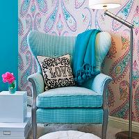 JAC Interiors - girl&#039;s rooms - Cox Paint - Diamonds Are Not Forever - turquoise and pink girls bedroom, shag carpet, shag rug, turquoise wall, turquoise wall color, paisley wallpaper, pink and turquoise paisley wallpaper, wallpapered accent wall, accent wall, bedroom accent wall, lacquered white cube, storage boxes, adjustable floor lamp, blue tasseled throw, blue pom pom tasseled throw, love pillow, blue pouf, moroccan pouf, blue moroccan leather pouf, oversized paisley wallpaper, striped blue wing chair, striped blue wing back chair, Victorian Love Pillow, Osborne and Little Nizam Wallpaper, , turquoise girls room, turquoise blue girls room, turquoise girls bedroom, turquoise blue girls bedroom, turquoise walls, turquoise blue walls, turquoise blue walls, turquoise blue paint colors, turquoise chair, turquoise blue chair, turquoise tufted chair, turquoise blue tufted chair, turquoise wingback chair, turquoise blue wingback chair,