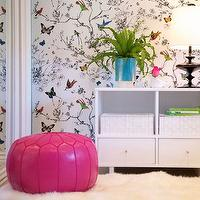 JAC Interiors - girl&#039;s rooms - bird and butterfly wallpaper, butterfly wallpaper, hot pink leather moroccan pouf, moroccan pouf, pink moroccan pouf, white bookshelf, white storage shelf, white storage shelf with drawers, houseplant, teal planter, black lamp, modern black lamp, wall to wall carpeting, carpet, sheepskin rug, sheepskin, sliding closet doors, mirrored closet doors, sliding mirrored closet doors, Schumacher Birds and Butterflies wallpaper,