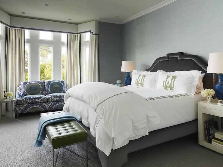 Gray Velvet Headboard Contemporary Bedroom Palmer Weiss