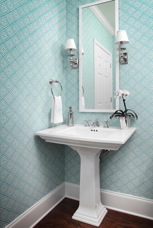 Blue powder room contemporary bathroom allison hennessy for Blue bathroom wallpaper