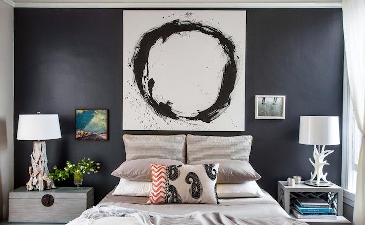 mismatched nightstands contemporary bedroom lauren