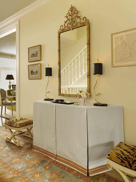 Skirted Foyer Table Transitional Entrance Foyer
