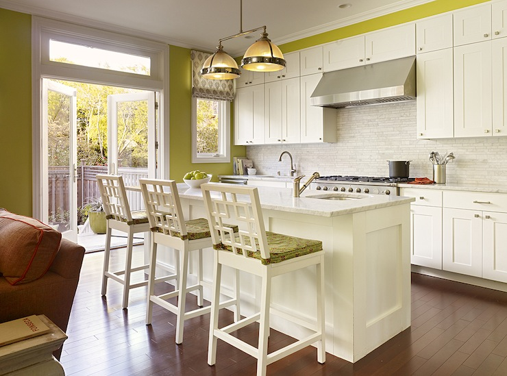 Chartreuse kitchen cabinets for Avocado kitchen cabinets
