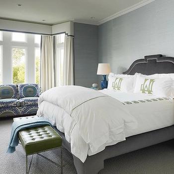 Gray Velvet Headboard, Contemporary, bedroom, Palmer Weiss