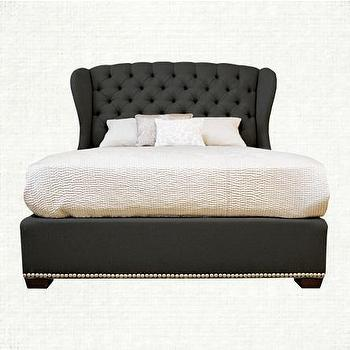 Bedding - Barrister 5 Queen Bed | Arhaus Furniture - gray button tufted bed, dark gray button tufted bed, button tufted wing back bed, diamond button tufted wing back bed, diamond button tufted wing back bed with nailhead trim,
