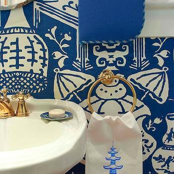 Jennifer Dengel - bathrooms - the vase wallpaper, the vase wallpaper blue, blue the vase wallpaper, david hicks wallpaper, white and blue wallpaper, powder room, powder room wallpaper, pedestal sink, pedestal sink, brass faucet, brass fixtures, brass towel ring, round brass towel ring, pagoda hand towel, white and blue hand towel, chinoiserie hand towel, , David Hicks The Vase Wallpaper,