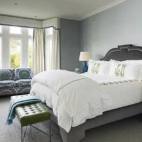 Palmer Weiss - bedrooms - gray headboard, gray velvet headboard, nailhead headboard, gray nailhead headboard, gray headboard with nailhead trim, gray headboard with silver nailhead trim, white and green hotel bedding, white and green bedding, monogrammed shams, white and green monogrammed shams, lacquer nightstands, white lacquer nightstands, peacock blue, peacock blue lamps, bench at foot of bed, green leather bench, green tufted bench, leather tufted bench, blue throw, blue throw blanket, bedroom bay window, bay window bedroom, bedroom cornice board, cornice box, cornice board, white cornice board, white and gray cornice board, white and gray cornice box, white cornice box with gray trim, white cornice box with gray ribbon trim, white curtains with gray trim, white curtains with gray ribbon trim, grosgrain curtains, grosgrain drapes, grosgrain window panels, suzani sofa, suzani loveseat, blue and green suzani, blue and green suzani loveseat,