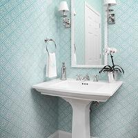 Allison Hennessy - bathrooms - blue powder room, powder room, blue wallpaper, geometric wallpaper, blue geometric wallpaper, powder room wallpaper, lacquer mirror, white lacquer mirror, pedestal sink,