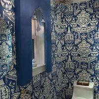 Jennifer Dengel - bathrooms - the vase wallpaper, the vase wallpaper blue, blue the vase wallpaper, david hicks wallpaper, white and blue wallpaper, wallpapered ceiling, powder room, powder room wallpaper, pedestal sink, pedestal sink, brass faucet, brass fixtures, bathroom valance, blue valance, moroccan silhouette valance, vintage lantern, powder room lantern, powder room lighting, white and blue bathroom,