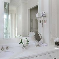 All Alabama - bathrooms - marble top vanity, marble top make up vanity, bathroom vanity, marble top bathroom vanity, built in vanity, built in make up vanity, crystal knobs, waterworks sconces, Fairfax Wall Mounted Single Arm Sconce with Pyramid Shade,
