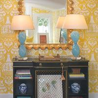 Jennifer Dengel - dens/libraries/offices - the vase wallpaper, the vase wallpaper yellow, yellow the vase wallpaper, david hicks wallpaper, white and yellow wallpaper, scalloped mirror, gold mirror, gold scalloped mirror, turquoise blue lamps, turquoise lamps, black and gold cabinet, vintage cabinet,