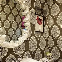 Palmer Weiss - bathrooms - katie ridder wallpaper, brown leaf wallpaper, brown katie ridder leaf wallpaper, brown wallpaper, powder room wallpaper, wallpapered powder room, white oval mirror, pedestal sink, niche, bathroom niche, over the toilet niche, above the toilet niche, art niche, silver tray, mint julep cup, mint julep vase, hot pink roman shade,