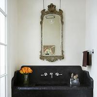 James Michael Howard - bathrooms - floating vanity, floating sink, floating bathroom vanity, floating bathroom sink, floating stone sink, wall mounted faucet, french mirror, gray mirror, gray french mirror,
