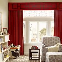 Palmer Weiss - nurseries - red cornice box, chain link cornice box, red chain link cornice box, red curtains, red drapes, red window panels, red cornice box and red curtains, paisley nursery glider, upholstered nursery glider, gray and red nursery glider, gray and red ottoman, nursery ottoman, skirted ottoman, skirted nursery glider, nesting tables, brown nesting tables, lacquer tables, brown lacquer tables, lacquer nesting tables, brown lacquer nesting tables, white and brown rug, plaid rug, brown plaid rug, white and brown plaid rug, oeuf bookcase, owl basket, owl hamper basket, 3 sprouts bins, 3 sprouts storage bins,
