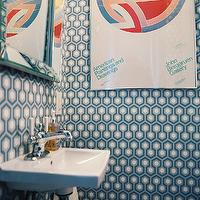 Lonny Magazine - bathrooms - small powder room, wallpapered powder room, powder room, hicks hexagon wallpaper, hexagon wallpaper, david hicks hexagon wallpaper, david hicks wallpaper, blue and gray wallpaper, blue and gray geometric wallpaper, hex wallpaper, wall mounted sink, beveled mirror,