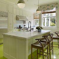 Palmer Weiss - kitchens - white and green kitchen, shaker cabinets, shaker kitchen cabinets, white marble, white marble countertops, hicks pendants, kitchen hicks pendants, hicks pendant kitchen, kitchen island sink, white marble top kitchen island, wishbone counter stools, wishbone barstools, green floor, green kitchen floor, neon green floor, neon green kitchen floor, painted floor, painted kitchen floor, layered window treatments, kitchen window treatments, matchstick roller shades, cornice box, cornice board,