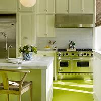 Palmer Weiss - kitchens - white and green kitchen, shaker cabinets, shaker kitchen cabinets, white marble, white marble countertops, hicks pendants, kitchen hicks pendants, hicks pendant kitchen, kitchen island sink, white marble top kitchen island, wishbone counter stools, wishbone barstools, green floor, green kitchen floor, neon green floor, neon green kitchen floor, painted floor, painted kitchen floor, subway tile, subway tile kitchen, subway tile backsplash, viking range, viking stove,
