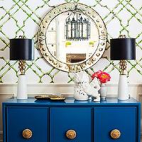 One Kings Lane - dining rooms - dining room wainscoting, wainscoting dining room, bamboo trellis wallpaper, trellis wallpaper, white and green trellis wallpaper, green bamboo trellis wallpaper, white and green bamboo trellis wallpaper, dining room buffet, buffet cabinet, indigo blue, indigo blue cabinet, blue buffet cabinet, hollywood regency cabinet, hollywood regency buffet cabinet, blue and gold cabinet, blue lacquer cabinet, indigo blue lacquer cabinet, lacquered dining cabinet, lacquered cabinet, art deco lamps, brass table lamps, art deco brass lamps, black lamp shades, square back dining chairs, upholstered dining chairs, gray dining chairs, upholstered gray dining chairs, gray square back dining chairs,
