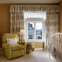 Palmer Weiss - nurseries - girls nursery, gold grasscloth, gold grasscloth wallpaper, valance, nursery valance, nursery curtains, valance and curtains, valance with matching curtains, valance with matching drapes, valance with matching panels, medallion valance, gray medallion valance, medallion curtains, medallion drapes, medallion window panels, gray medallion curtains, gray medallion drapes, gray medallion window panels, traditional crib, white and pink crib bedding, elephant table, wicker elephant table, nursery glider, avocado green glider, avocado green nursery glider, rolled arm nursery glider, chevron rug, gray chevron rug, white and gray chevron rug, nursery chevron rug, nursery rug, 2 tone dresser,