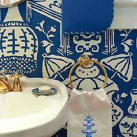 Jennifer Dengel - bathrooms - the vase wallpaper, the vase wallpaper blue, blue the vase wallpaper, david hicks wallpaper, white and blue wallpaper, powder room, powder room wallpaper, pedestal sink, pedestal sink, brass faucet, brass fixtures, brass towel ring, round brass towel ring, pagoda hand towel, white and blue hand towel, chinoiserie hand towel,