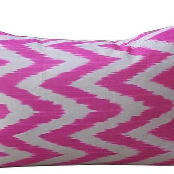 Pillows - Zag Zag Pom Pom |  Amber Interiors - pink ikat silk pillow, pink ikat chevron pillow, pink ikat zig zag pillow,