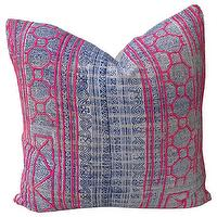 Pillows - Simone Pillow I Amber Interiors - antique indigo hemp pillow, indigo blue and pink pillow, vintage style indigo blue and pink pillow,