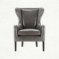Seating - Wing Back Leather Chair - Pinot Collection | Arhaus Furniture - gray leather chair, leather wing chair, gray leather wing back chair,