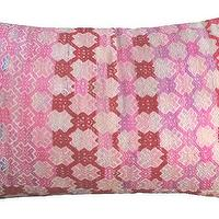 Pillows - Steff Pillow I Amber Interiors - pink vintage chinese pillow, vintage pink pillow, vintage embroidered chinese pillow,