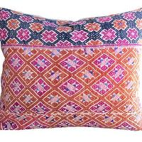 Pillows - Duckie Pillow I Amber Interiors - vintage chinese pillow, vintage indigo pink and orange pillow, vintage embroidered chinese pillow,