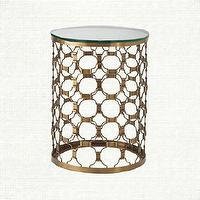 Tables - Naomi End Table For The Living Room | Arhaus Furniture - bras side table, brass end table brass drum end table, art deco style end table,
