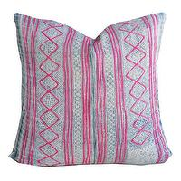 Pillows - Diamondback Pillow I Amber Interiors - antique indigo hemp pillow, indigo blue and pink pillow, vintage chinese pillow,