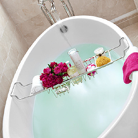 Clean Design Partners - bathrooms - bath tray, tub tray, chrome bath tray, egg shaped bath, egg shaped tub, contemporary tub, freestanding bath tub, freestanding bath, freestanding tub, floor mounted faucet, crema marfil marble tiled walls, crema marfil marble tiled floors, crema marfil marble, crema marfil marble bathroom, contemporary soaking tub, soaking tub,