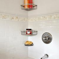 Clean Design Partners - bathrooms - white subway tile, subway tile, subway tiled bath, subway tiled bathroom, subway tiled backsplash, subway tiled shower surround, chrome corner shelves, chrome corner bathroom shelves, chrome shower shelf, thassos field tile, thassos field tiled border, thassos field tile border, hexagonal thassos field tiled border, thassos field hex tiled border, white subway tile with accent border,