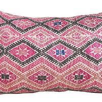 Pillows - Pink Diamonds | Amber Interiors - vintage chinese pillow, vintage pink and black pillow, vintage embroidered chinese pillow,