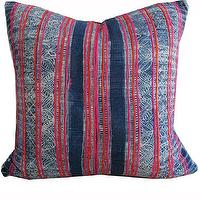 Pillows - Mandy Pillow I Amber Interiors - antique indigo hemp pillow, indigo and pink pillow, antique chinese fabric pillow,