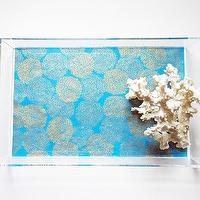 Decor/Accessories - Turquoise // Gold Mums Lucite Tray with Handles | Parker & Rain - turquoise and gold floral lucite tray, lucite tray, turquoise and gold lucite tray,