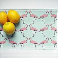 Decor/Accessories - Mint Flamingo Lucite Tray with Handles | Parker & Rain - flamingo tray, flamingo lucite tray, mint and pink flamingo lucite tray,