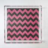 Decor/Accessories - Navy // Pink Chevron Lucite Tray with Handles | Parker & Rain - navy and pink chevron tray, navy and pink chevron lucite tray, lucite tray,