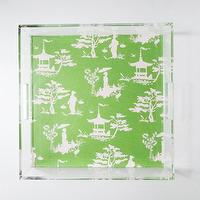 Decor/Accessories - Chinoiserie Lucite Tray with Handles | Parker & Rain - green and white chinoiserie lucite tray, chinoiserie lucite tray, lucite tray,