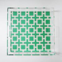 Decor/Accessories - Geo Lucite Tray with Handles | Parker & Rain - green and white geometric lucite tray, lucite tray, geometric lucite tray,