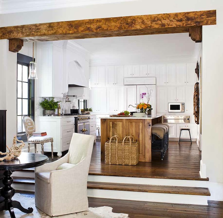 Sunken dining room transitional kitchen terracotta for Natural wood beams