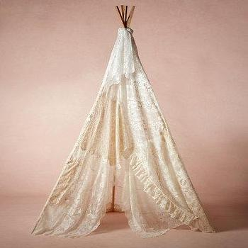 Decor/Accessories - Vintage Lace Teepee I BHLDN - lace teepee, teepee, vintage lace teepee,