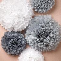 Decor/Accessories - Papered Pom Set (5) I BHLDN - paper pom poms, gray paper pom poms, gray and white paper pom poms,