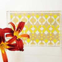 Decor/Accessories - Yellow // Gold Ikat Lucite Tray with Handles | Parker & Rain - yellow and gold ikat tray, yellow and gold ikat lucite tray, lucite tray,