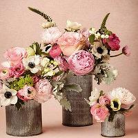 Decor/Accessories - Ridged Tin Vases I BHLDN - rustic vase, ribbed metal vase, rustic ribbed vase,