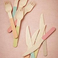 Decor/Accessories - Birch Chevron Flatware (20) I BHLDN - wooden flatware, wooden chevron flatware, throw-away chevron flatware,