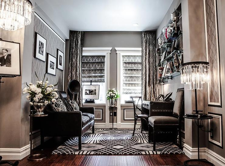 Gray Office Design Transitional Den Library Office The New York Plaza Hotel