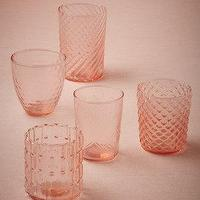 Decor/Accessories - Strawberry Nectar Votives (5) I BHLDN - pink glass votives, mismatched pink glass votives, pink candle votives,