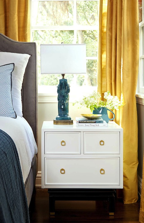 yellow drapes eclectic bedroom emily henderson